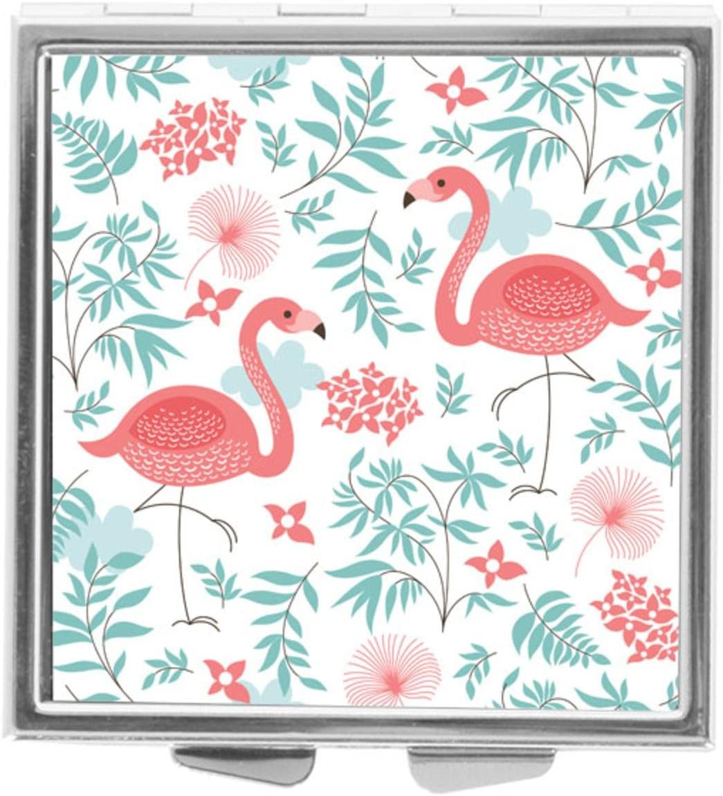 Katrina Pill Box Pill Holder Pill Case Medicine Holder Mint Tin Vitamin Holder Container Pocket or Purse (Pink Flamingo)