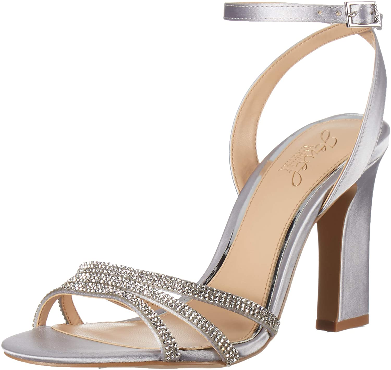 Jewel Badgley Mischka Women's SPARKLE Sandal, Silver, 7.5 M US