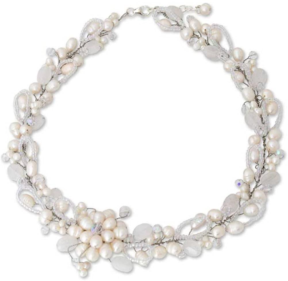 NOVICA Quartz White Cultured Freshwater Pearl .925 Sterling Silver Bridal Necklace 'Iridescent'