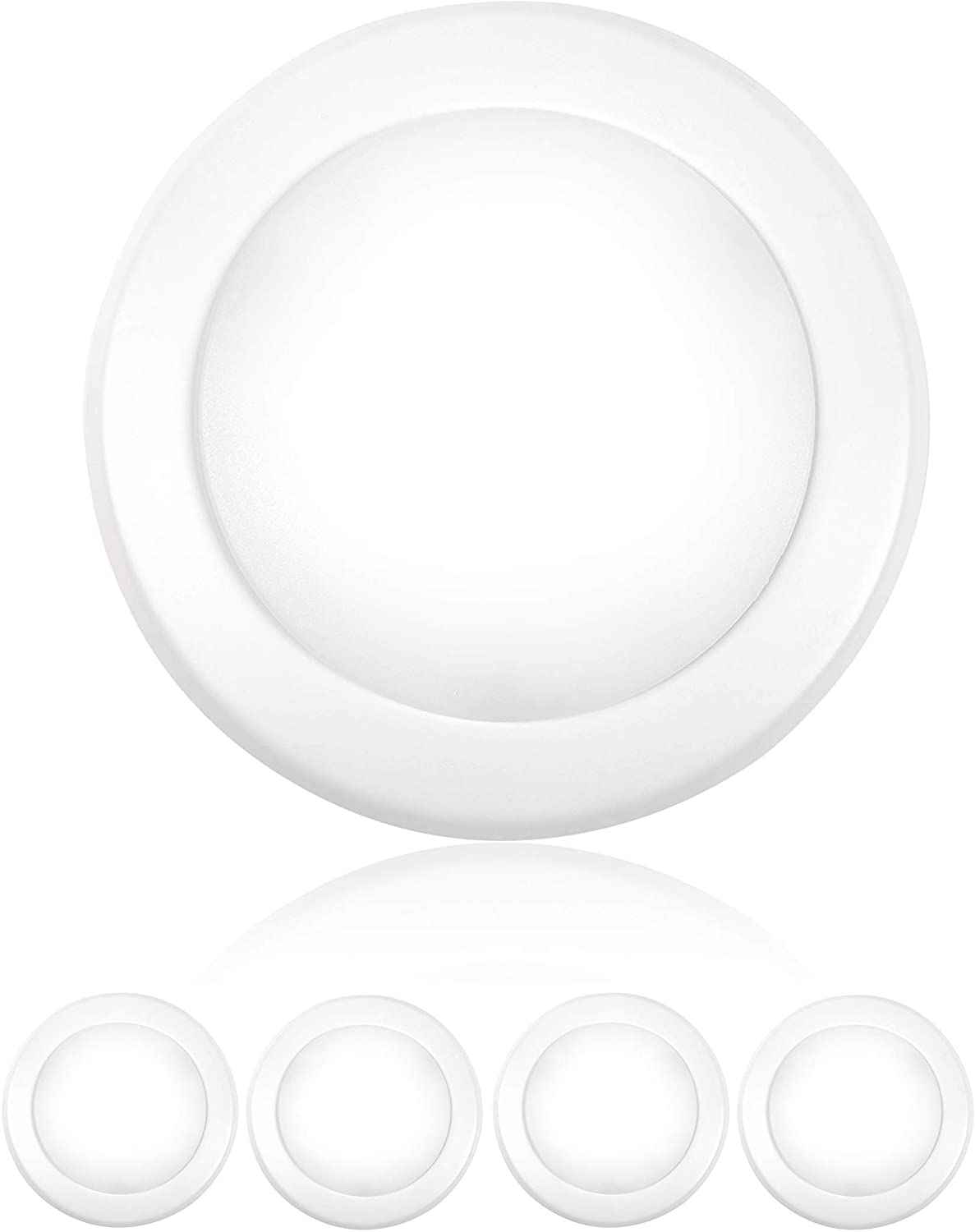 """PARMIDA (4 Pack) 5/6"""" Dimmable LED Disk Light Flush Mount Recessed Retrofit Ceiling Lights, 15W (120W Replacement), 3000K, Energy Star & ETL-Listed, Installs into Junction Box Or Recessed Can, 1050lm"""