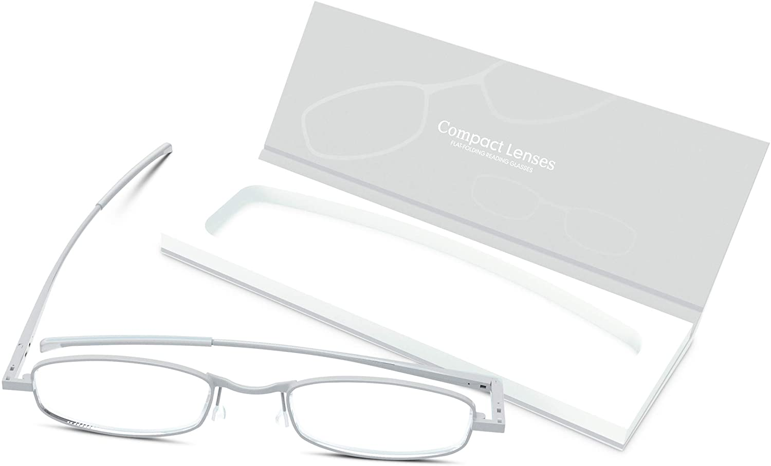 Compact Lenses Flat Folding-Reading Glasses-Frost +2.0