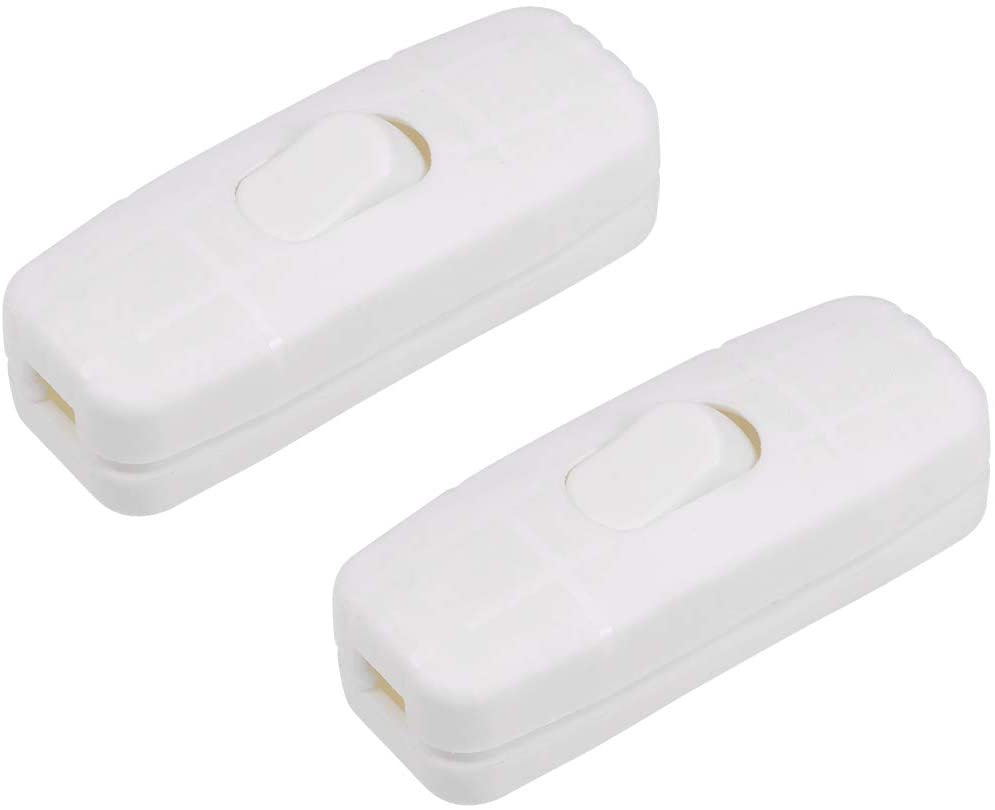 uxcell Inline Cord Switch AC 250V 2A On-Off SPST Feed-Through Rocker Switch, for Bedroom Table Lamp Desk Light White Pack of 2