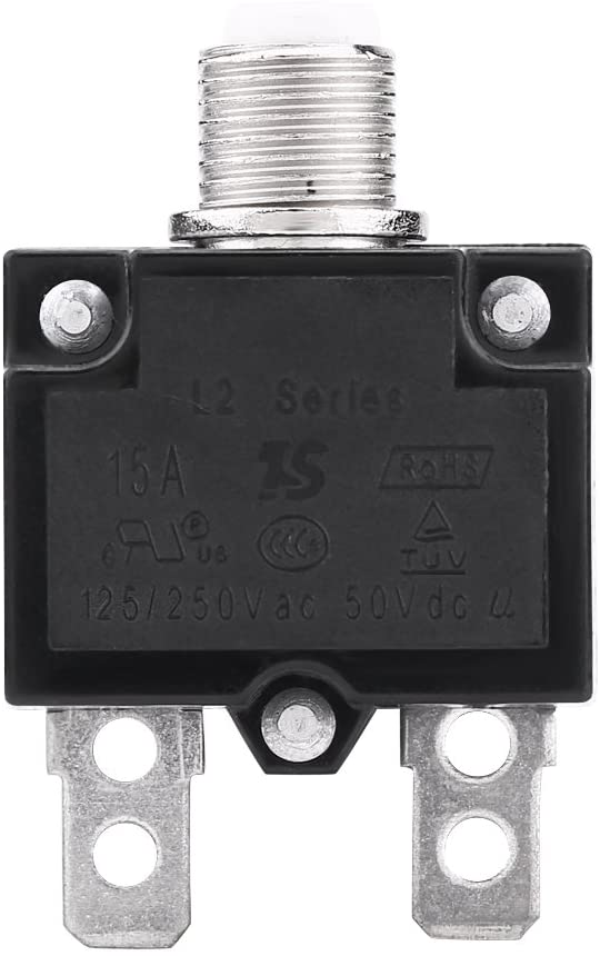 VGEBY1 Thermal Circuit Breakers, AC 125/250V Push Button Manual Reset Circuit Breaker Over Current Overload Protector for Generator(15A)