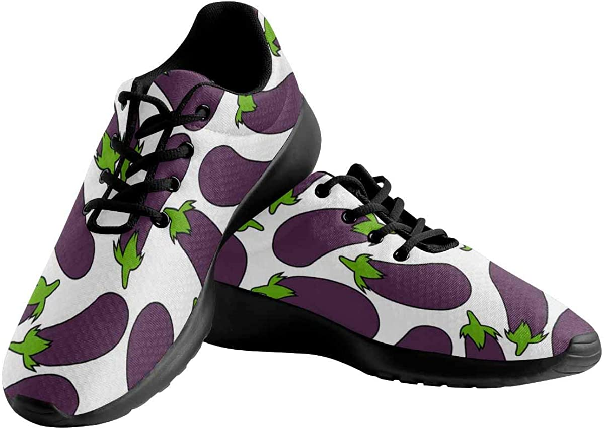 INTERESTPRINT Purple Eggplant Women's Breathable Casual Sneakers Jogging Running Shoes