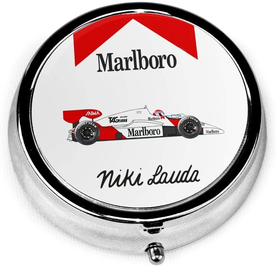 Happy Fee Niki Lauda McLaren Round Pill Box/Pill Case 3 Compartment Slot Set of Travel Portable Vitamin Medicine Holder Organizer Container