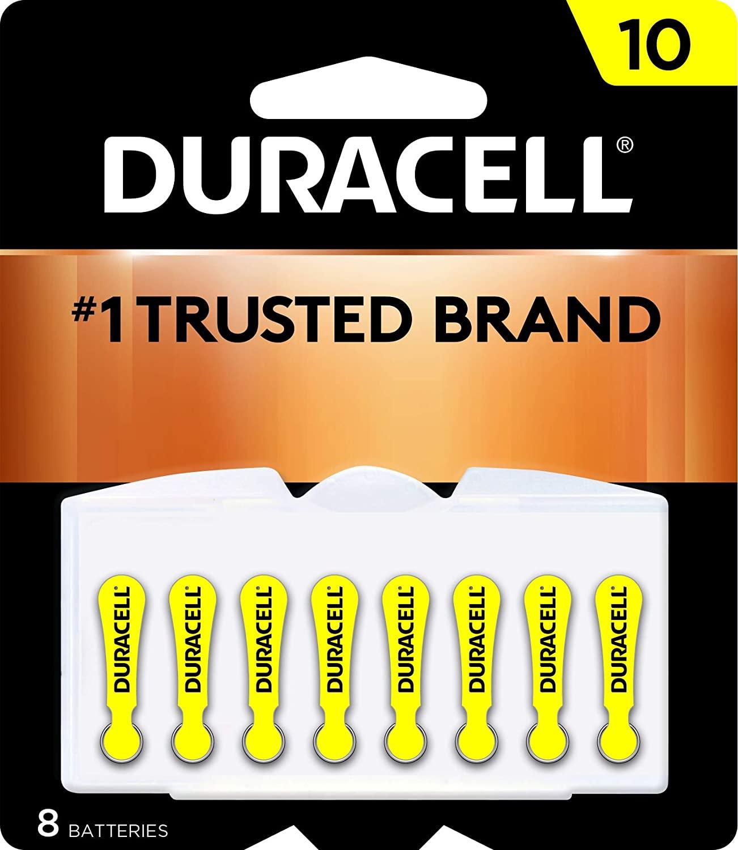 Duracell DA10B8ZM10 Easy Tab Hearing Aid Zinc Air Battery, 10 Size, 1.4V, 95 mAh Capacity - 8 count