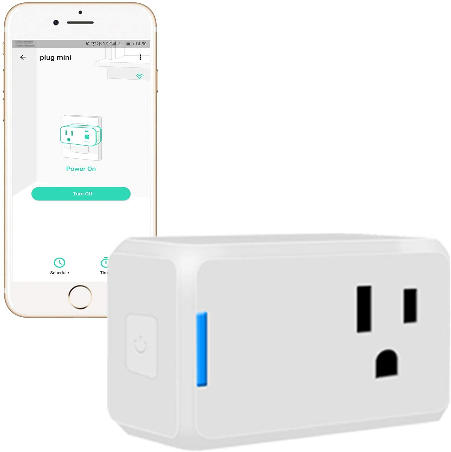 YoLink Mini Plug, 1/4 Mile World's Longest Range Smart Home Plug Mini Outlet Work with Alexa Google Assistant IFTTT APP Remote Control Home Appliances from Anywhere ETL Certified - YoLink Hub Required