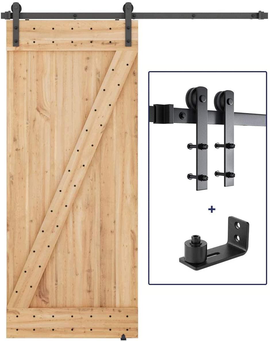 6 FT Heavy Duty Sturdy Sliding Barn Door Hardware Whole Kit + Barn Door Bottom Adjustable Floor Guide Roller