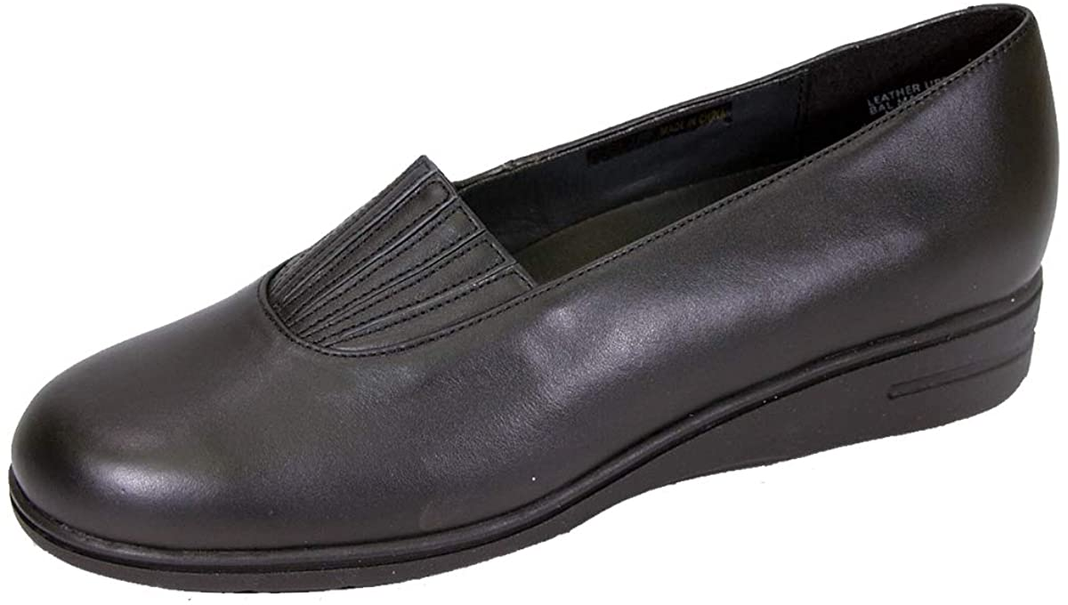 24 Hour Comfort Katy Women's Wide Width Leather Slip On Shoes with Designed Upper