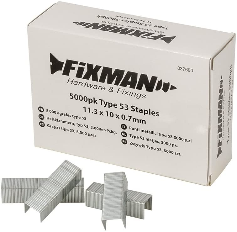 FIXMAN 337680 Type 53 Staples, Silver, Set of 5000 Pieces
