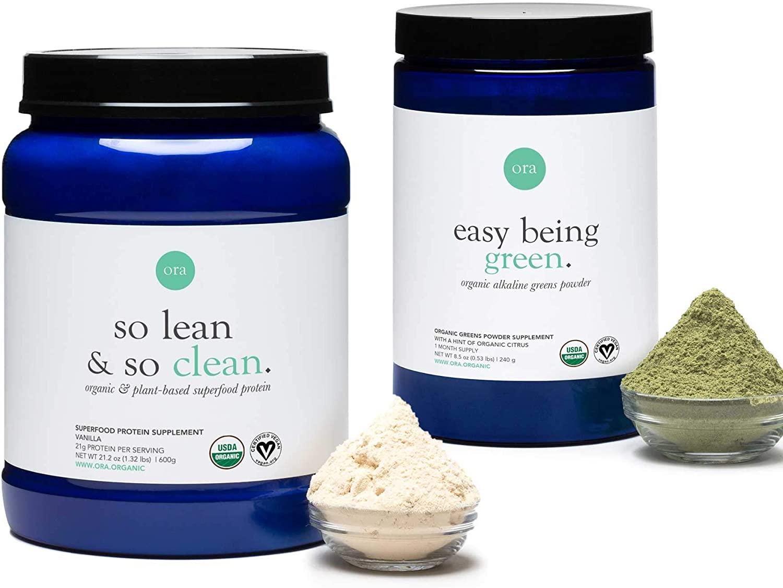 Ora Organic Fitness Bundle - Plant-Based Vanilla Protein & Greens Powder - Made with Clean, Vegan Ingredients