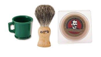 Green Shaving Mug, 904 Badger Shave Brush & Col Conk Bay Rum Soap * Combo