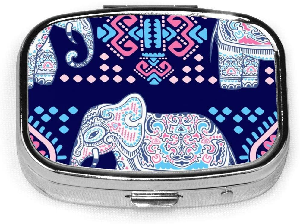 Vintage Lotus Ethnic African Elephant Pill Box Square Metal Pill Case Two Compartment Pocket Medical Drug Tablet Medicine Storage