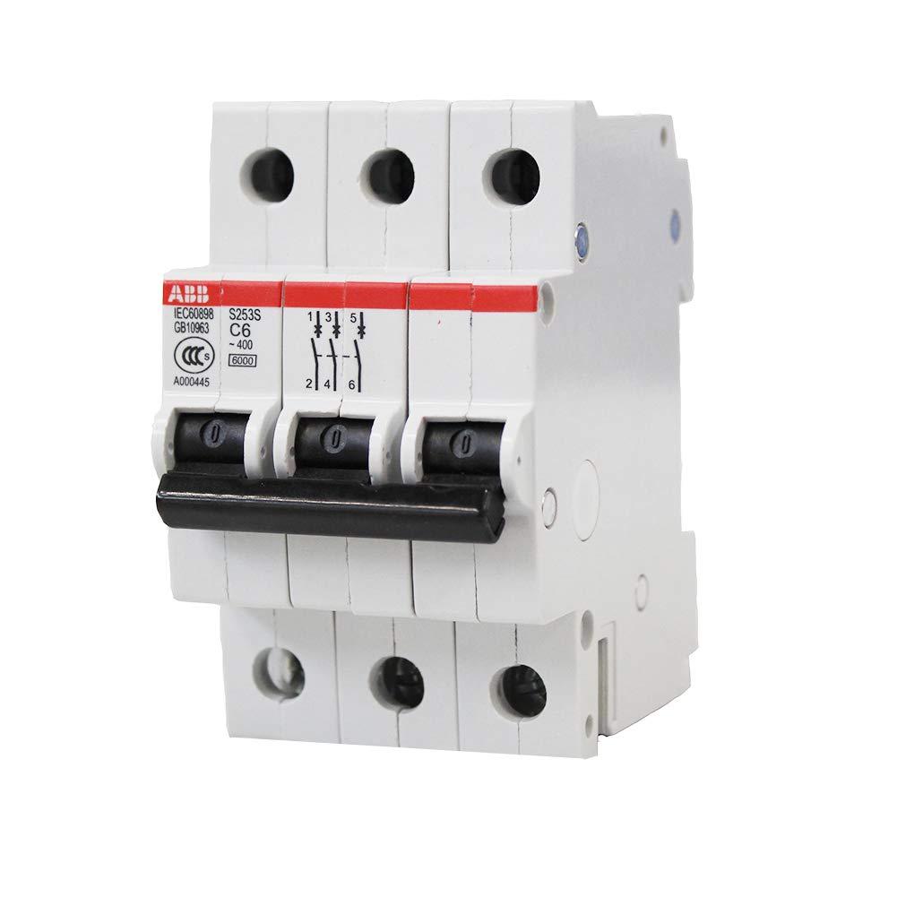 Bibos Breakers 6 Amp Circuit Breaker, 3 Poles Circuit Interrupter, ABB S253S C6 Miniature Circuit Breakers