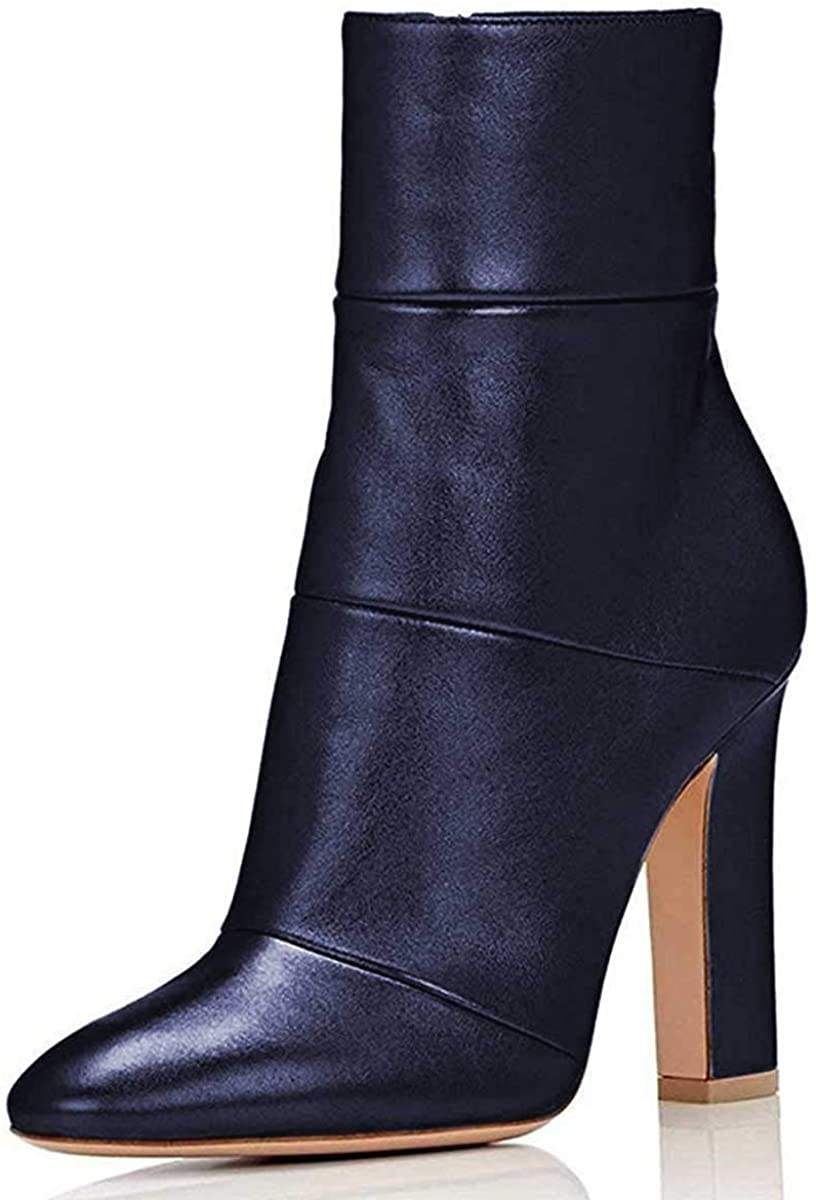 FSJ Women Retro Chunky High Heel Ankle Boots Pointed Toe Booties with Side Zipper Size 4-15 US