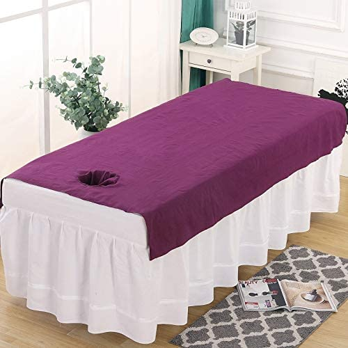 DXTY Cotton Beauty Bed Cover with Face Hole Pure Color Massage Table Pads Lightweight Massage Table Cover Sheet Fitted Massage Couch Sheet for Beauty Salon Spa B 80x200cm(31x79inch)