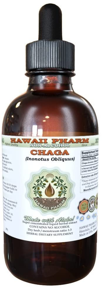 Chaga Alcohol-Free Liquid Extract, Chaga (Inonotus obliquus) Whole Mushroom Dried Glycerite Hawaii Pharm Natural Herbal Supplement 4 oz