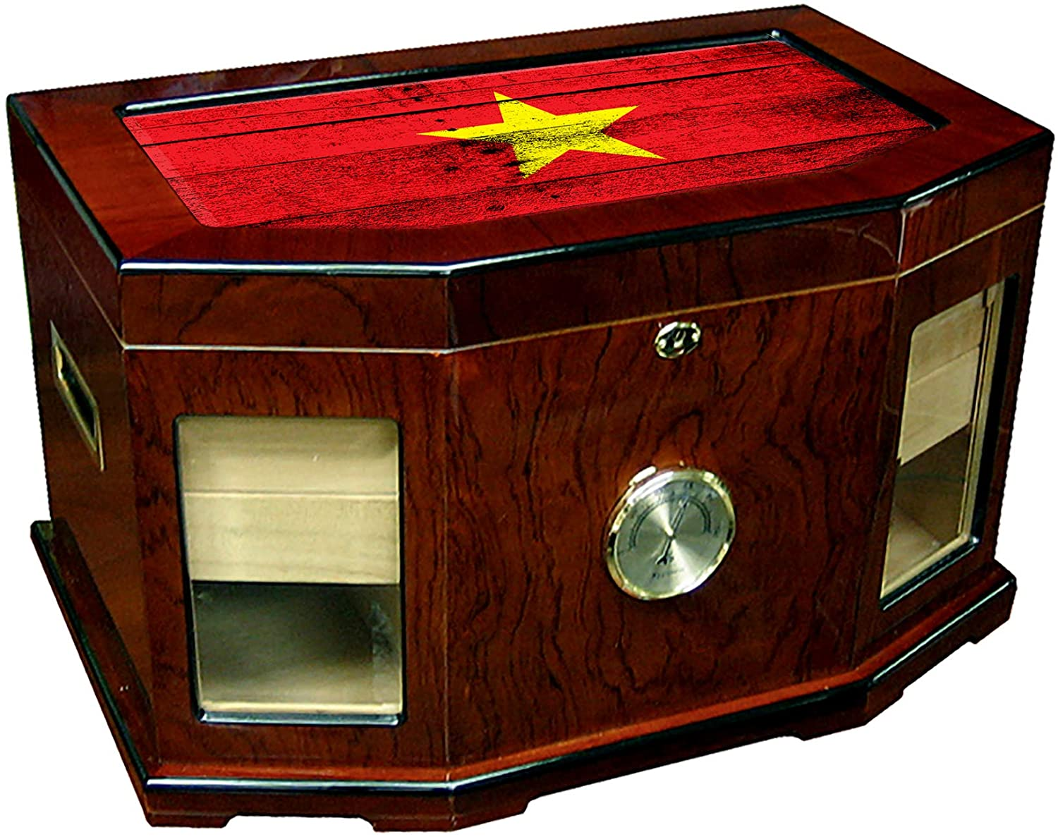 Large Premium Desktop Humidor - Glass Top - Flag of Viet NAM (Vietnamese) - Wood Design - 300 Cigar Capacity - Cedar Lined with Two humidifiers & Large Front Mounted Hygrometer.