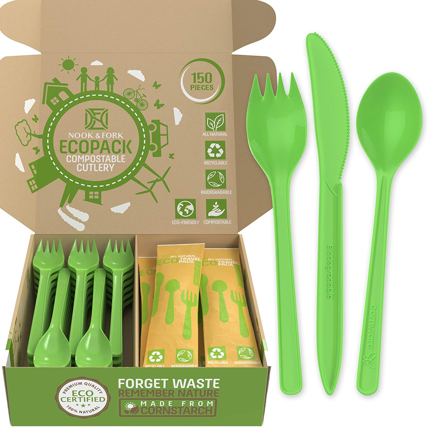 Ecosporks Compostable Cutlery Set - 120 Sporks (Compostable Forks And Spoons in One Utensil) + 10 Bags Packed with Biodegradable Forks, Knives, and Spoons by Nook & Fork