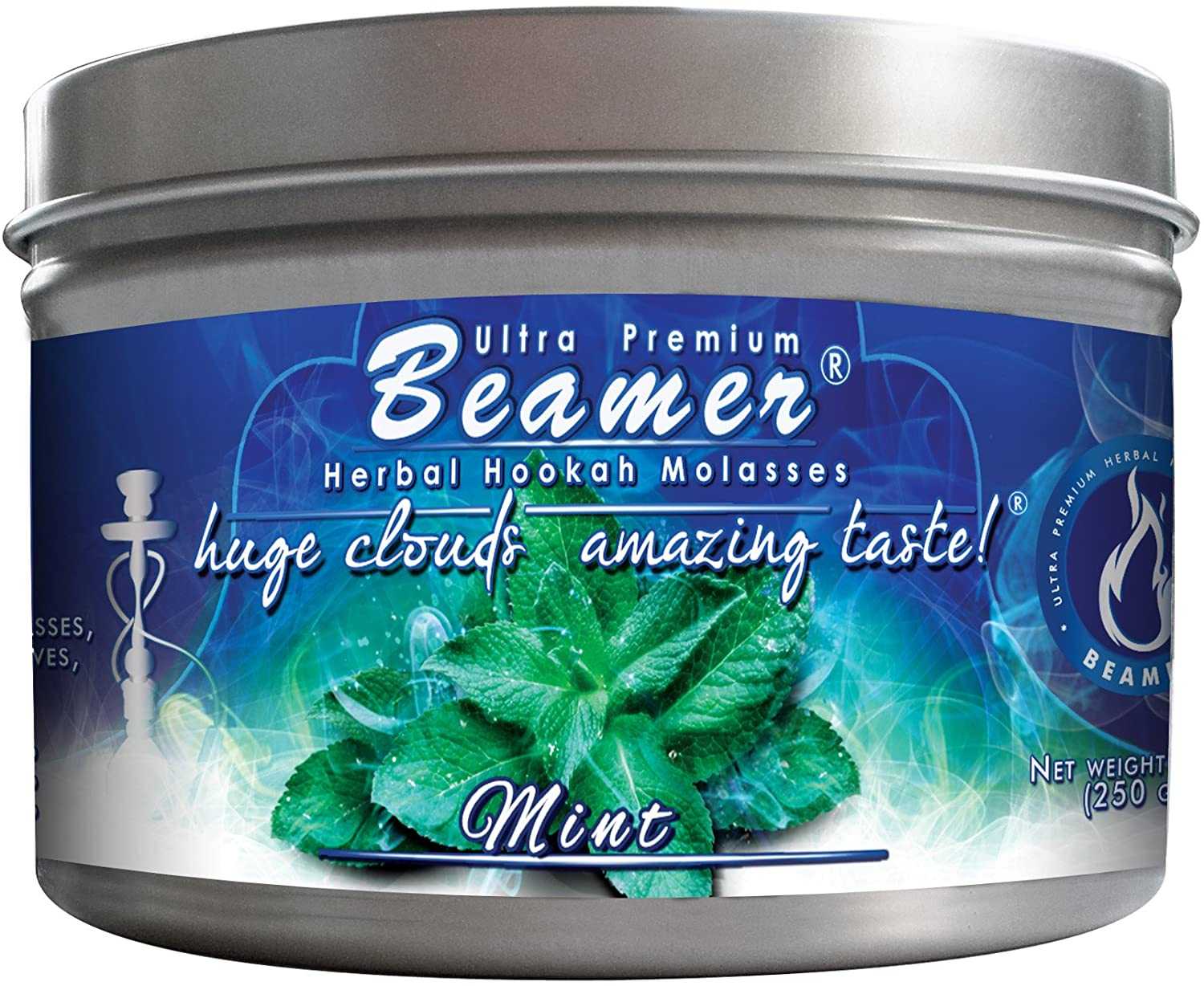 Mint Beamer Ultra Premium Hookah Molasses 250 gram tin. Huge Clouds, Amazing Taste! 100 % Tobacco, Nicotine & Tar Free but more taste than tobacco! Compare to Hookah Tobacco! GREAT TASTE, LOTS OF SMOKE & SMELLS GREAT!!!