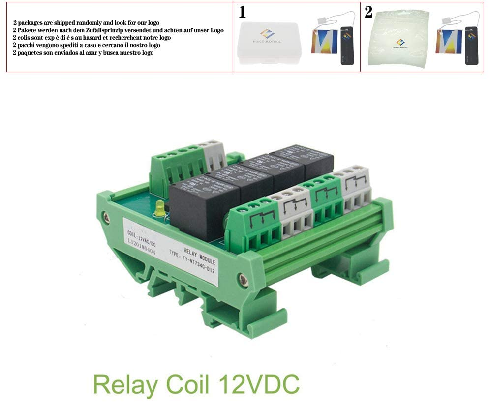 4 Channel Relay Module 1 SPDT DIN Rail Mount 12V 24V DC/AC Interface Relay Module for PLC FY-T734,12VACDC