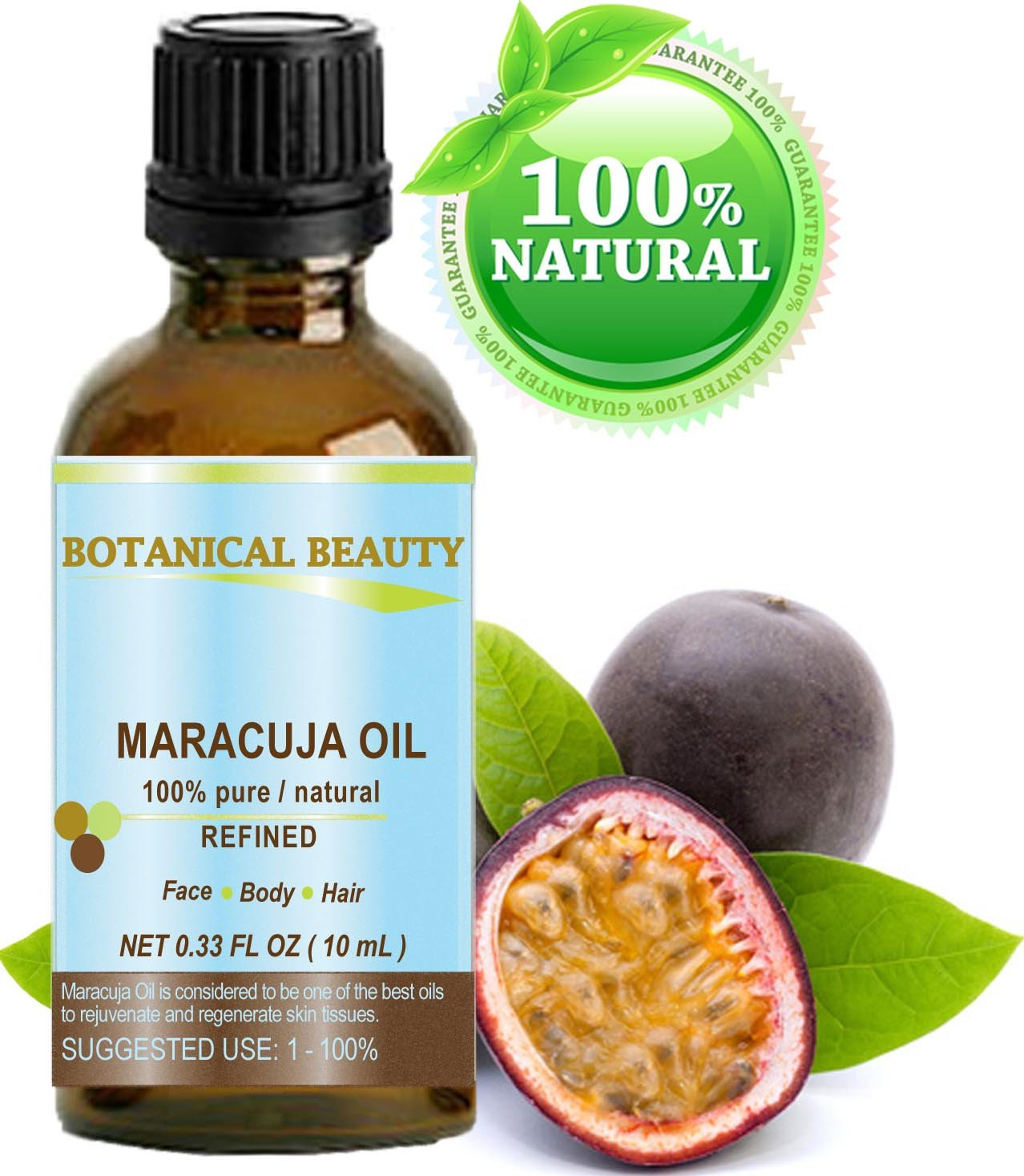 Maracuja Oil. 100% Pure/Natural. Cold Pressed/Undiluted. For Face, Hair and Body. 10ml - 0.33 Fl.oz. By Botanical Beauty