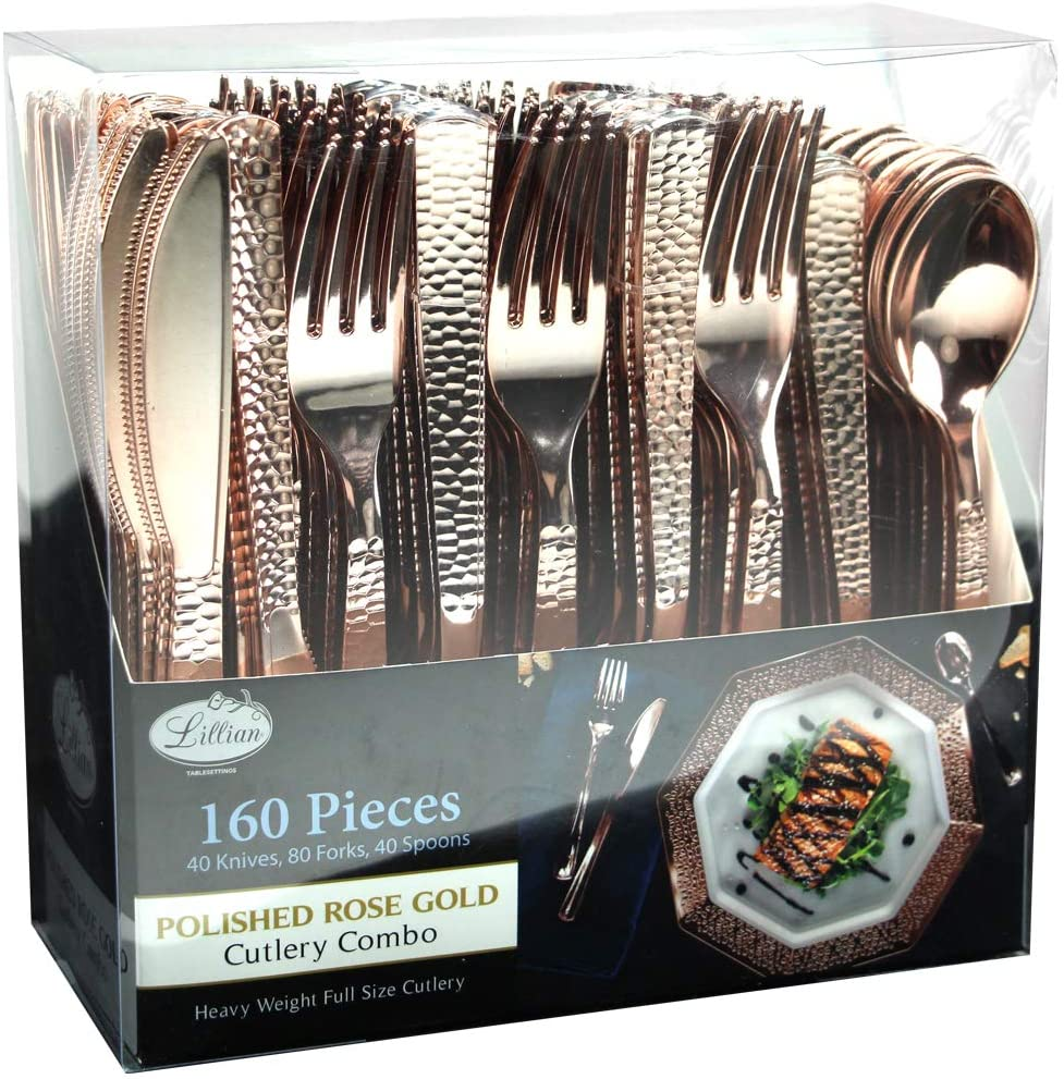 160 Pieces Rose Gold Plastic Silverware, Extra Heavyweight Disposable Flatware, Heavyweight Plastic Cutlery - Includes 80 Forks, 40 Spoons, 40 Knifes