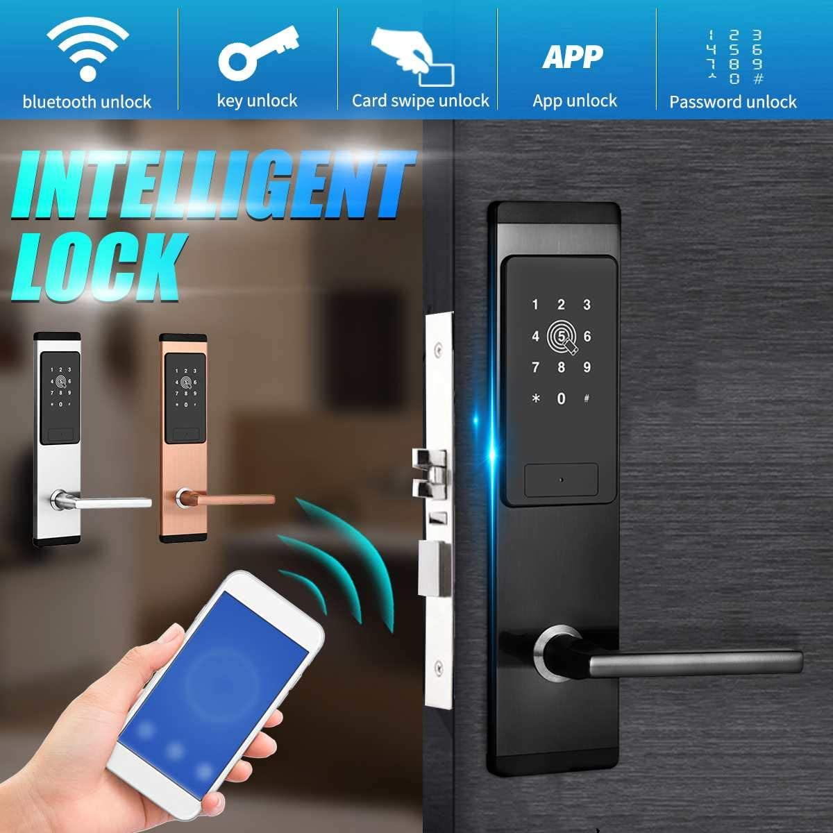 Electronic Door Lock Bluetooth APP Smart Code Card Key Touch Screen Digital Password Lock for Home