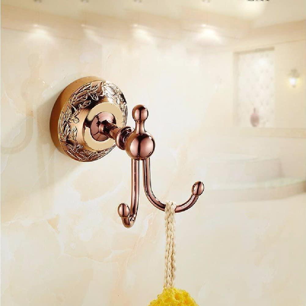 WAWZJ Robe Hooks Antique Black All Copper Coat Hook, European Style Wall Hanging Hook,Rose Gold