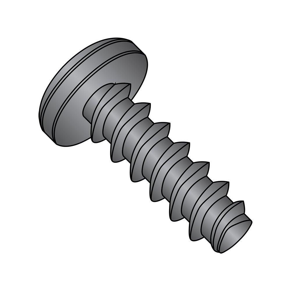 Steel Thread Rolling Screw for Plastic, Black Zinc Plated, Pan Head, Phillips Drive, #6-19 Thread Size, 3/8