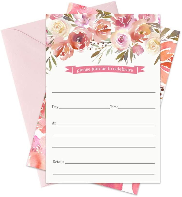 Blushed Floral Invitations (15 Cards) Bridal Shower - Housewarming - Country Wedding Theme - Baby Girls Shower - Luncheon - Graduation - Rustic Party Supplies - DIY Fill in Invite and Envelope Set