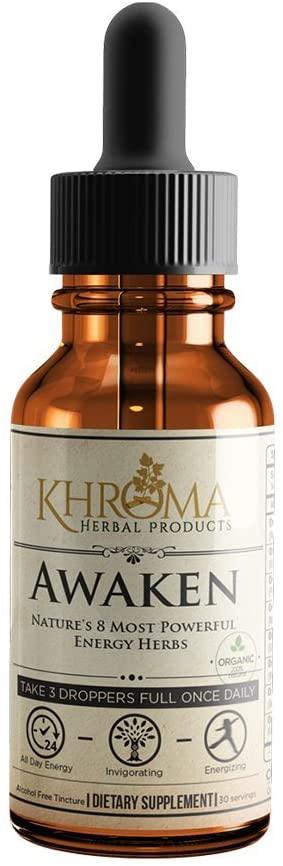 Awaken - Organic Energy Supplement - 2 oz Liquid Energy Formula in a Glass Bottle - by Khroma Herbs