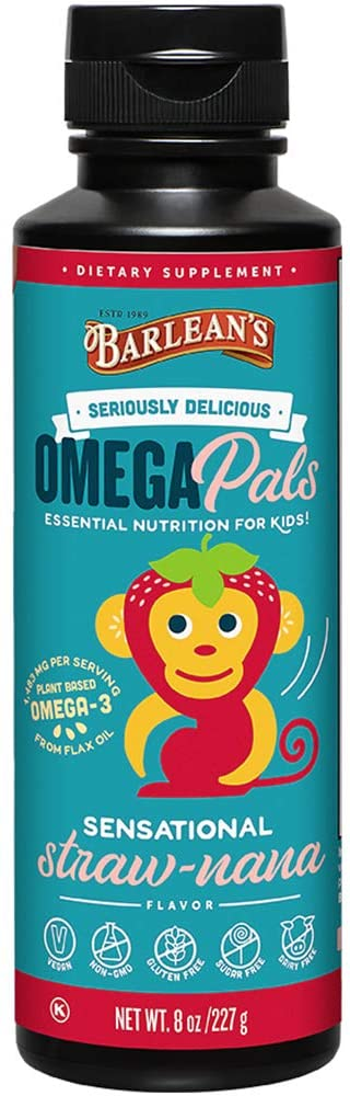 Barlean's Seriously Delicious Omega Pals Flax Oil Sensational Straw-Nana, 8 Ounce
