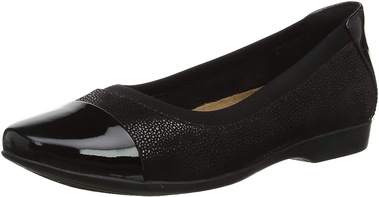 Clarks Women's Un Darcey Cap Loafers, Black (Black Combi Black Combi), 6.5 UK