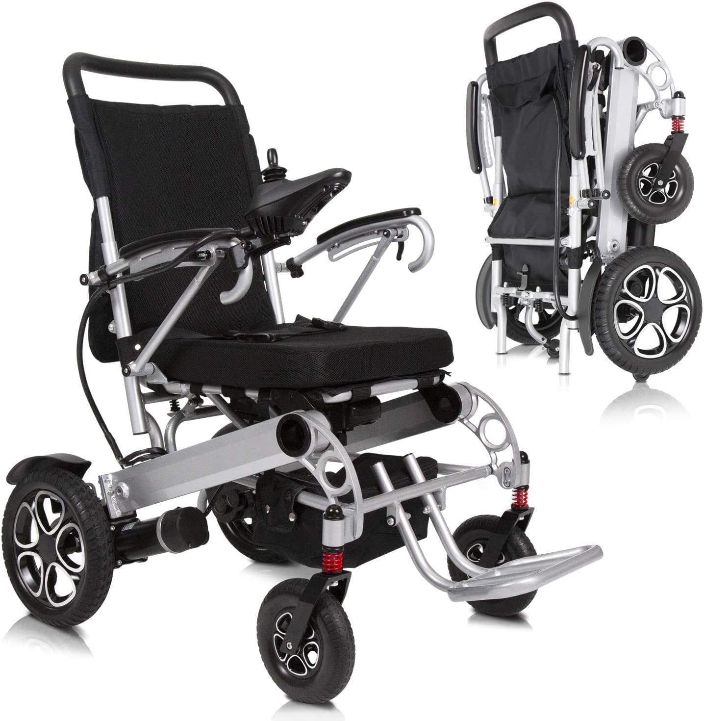 XKRSBS Mobility Electric Wheelchair - Power Transport Chair - Lightweight, Foldable, Heavy Duty for Compact Airplane Travel - Motorized Long Range Large Dual Motor
