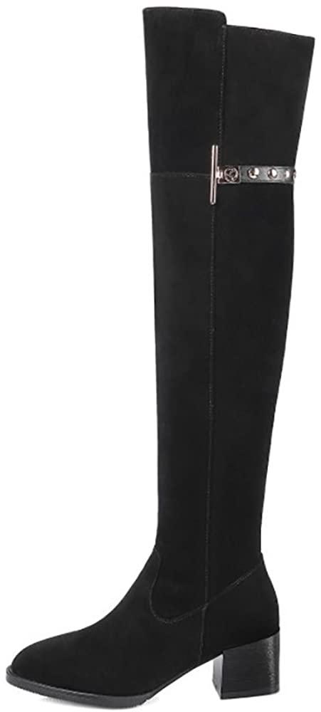 YiCharm Handmade Women's Knee-high Suede Boots/Chunky Boots/Leather/Fleeced/Black