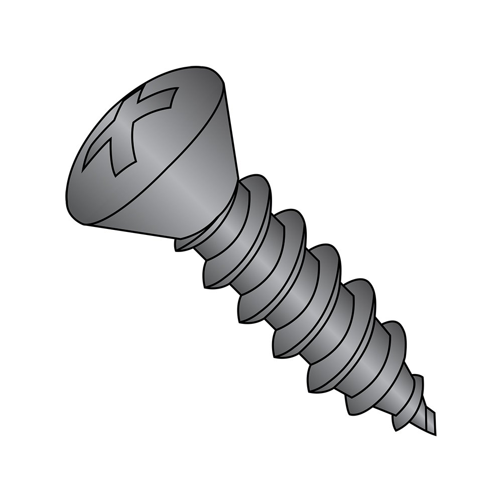 Steel Sheet Metal Screw, Black Oxide Finish, 82 degrees Oval Head, Phillips Drive, Type AB, #4-24 Thread Size, 1