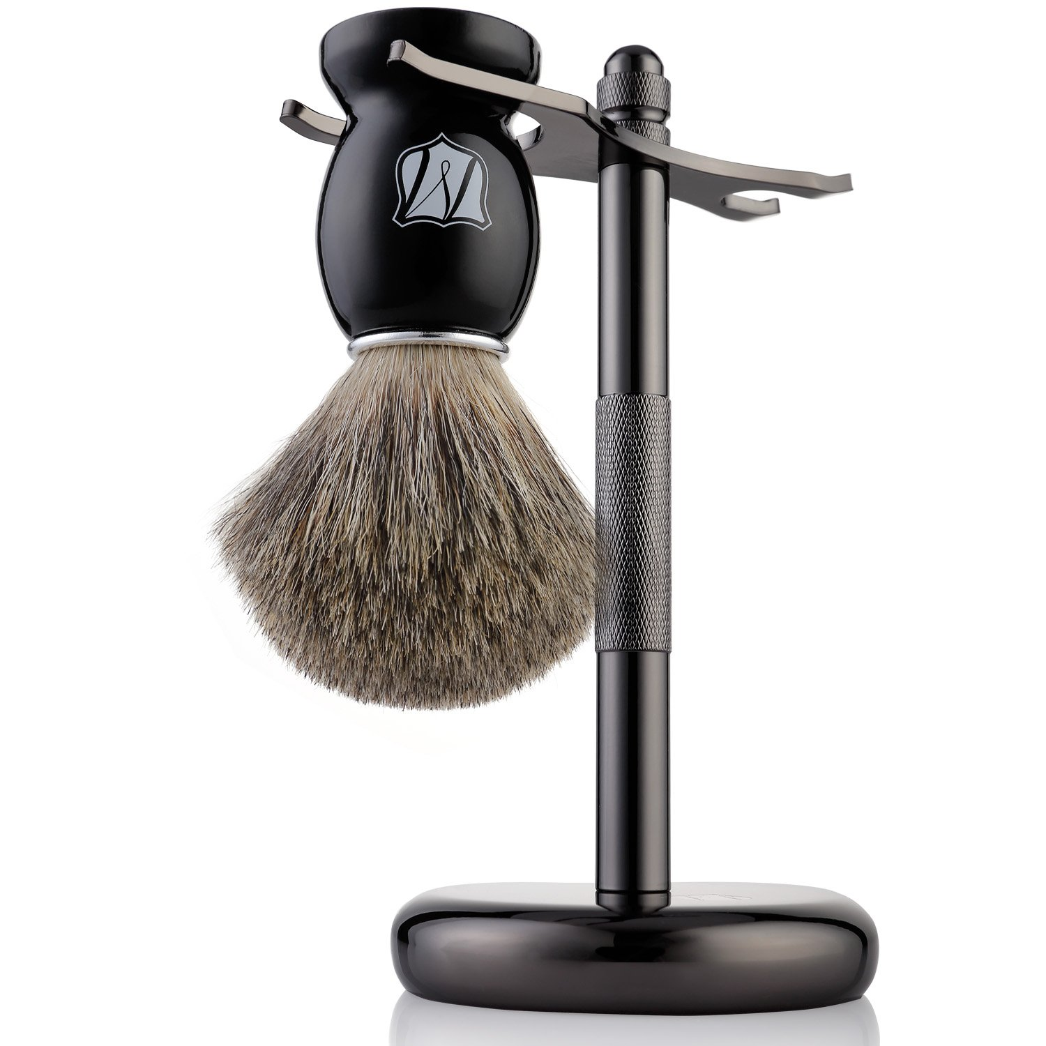 Miusco Natural Badger Hair Shaving Brush and Stand Set, Dark Chrome, Compatible with Safety Razor and Gillette Razor