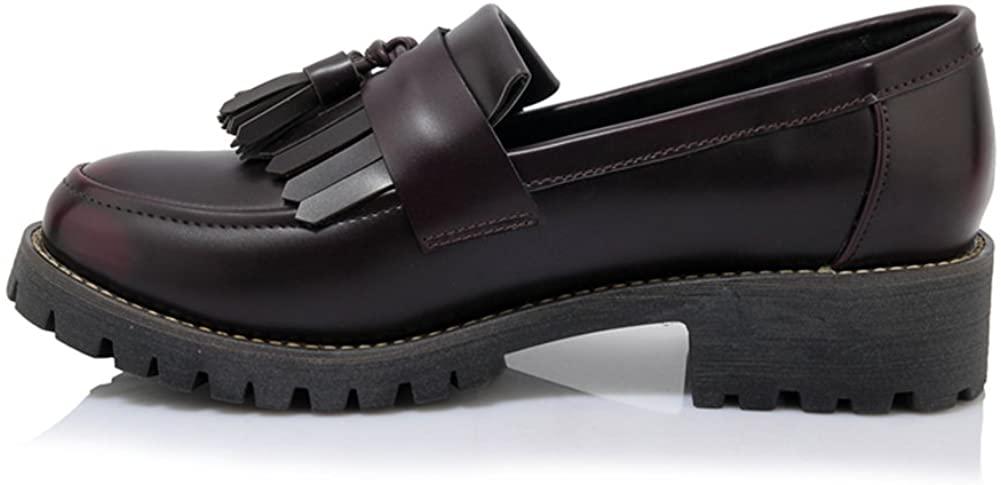 LANSHULAN Womens Juniors Slip on Tassels Oxfords Shoes Flats Plus Size 34-42