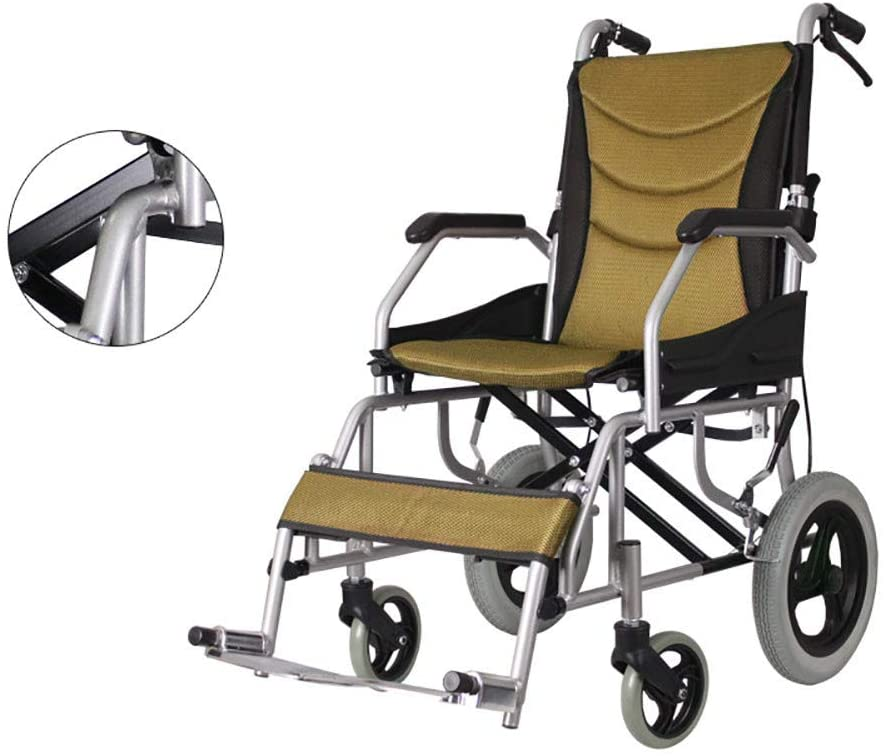 Self Propelled Wheelchair Net Weight Only 10 KG, Ultra Lightweight Folding with handbrakes and Quick Release Rear Wheels, Elderly Trolley, Disabled Scooter Rehabilitation Therapy Supplies