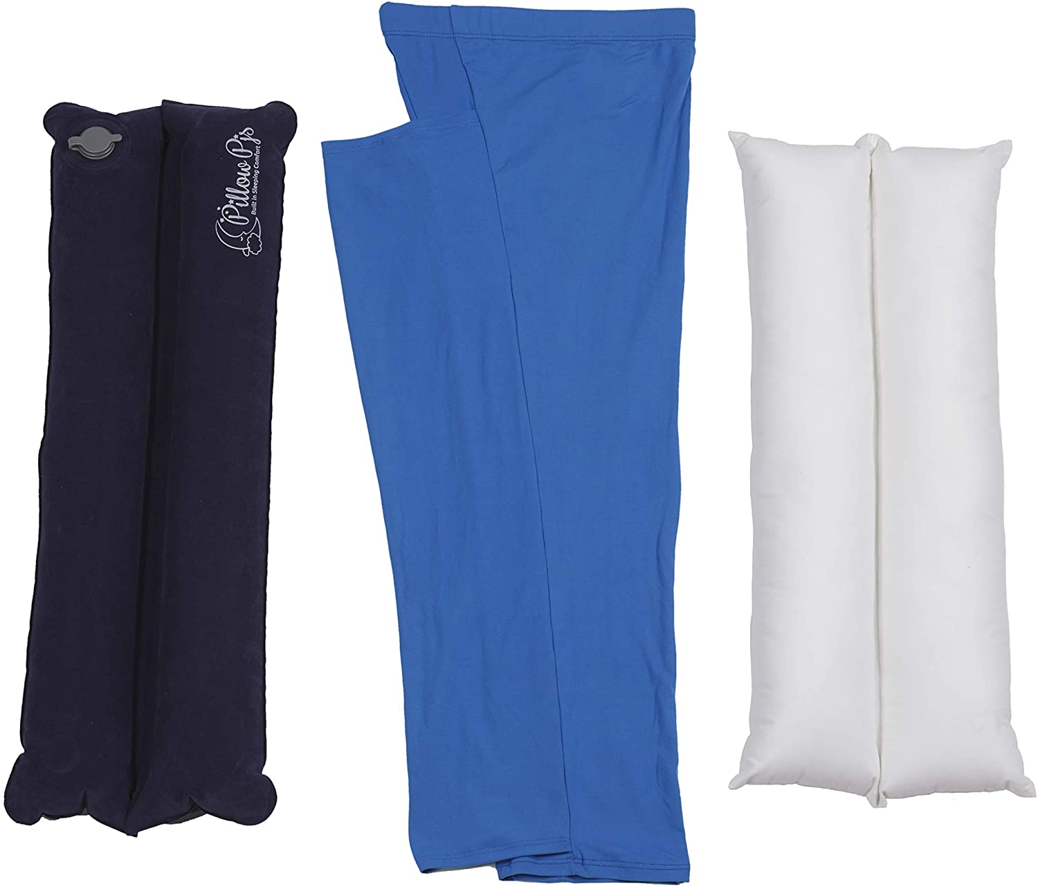 Pillow PJs - New – Womens Knee Pillow for Sleeping - Stretchy Comfortable Sleeve with Pillow Plus Free Inflatable Travel Pillow (Small to Large)