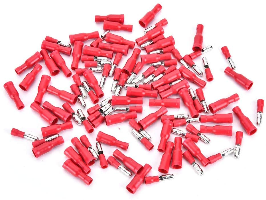 Cables Occus New New 100pcs Red Insulated Female&Male Bullet Butt Connector Wire Crimp Terminals - (Cable Length: as Description)
