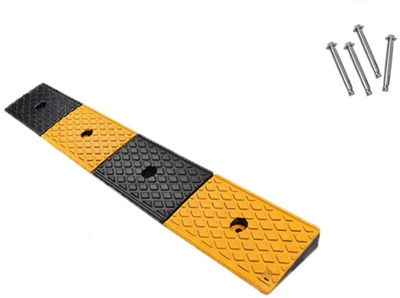 11 way bike CSQ-Ramps Outdoor Rubber Ramps, Roadside Uphill Ramps Garage Auxiliary Ramps/for Parking Lot, Both Sides of Road -100153CM, 100155CM Kerb Ramps (Color : Black+Yellow, Size : 100155CM)