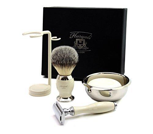 DE SAFETY RAZOR Men's Shaving Gift Set Ivory Shaving Brush shaving soap bowl kit (NO BLADES INCLUDED)