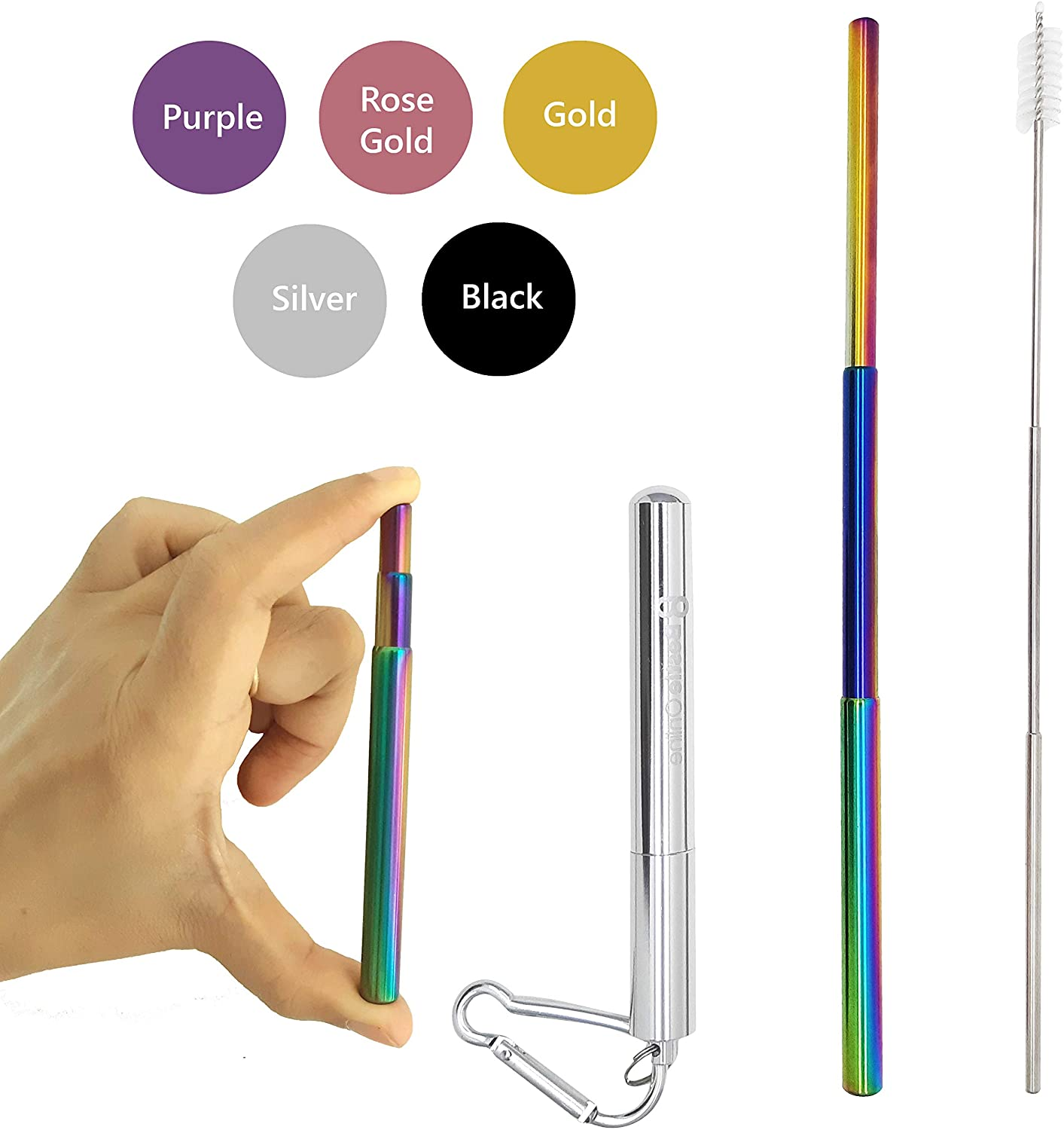 Bestie Online Reusable Collapsible Straw with Metal Case, Cleaning Brush & Hook (Silver Color with Rainbow Straw)