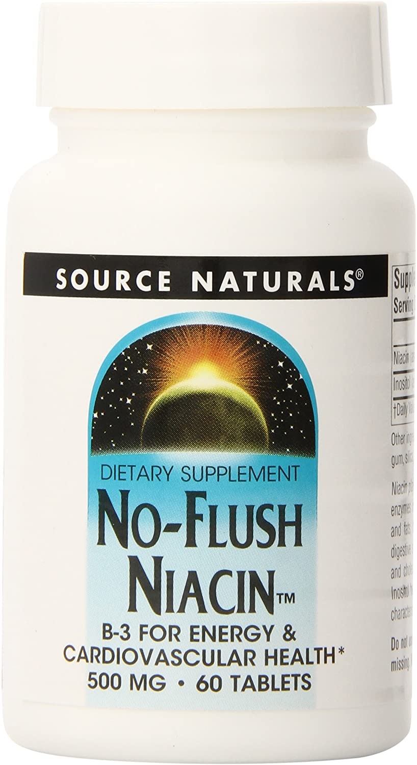 Source Naturals No-Flush Niacin, 500mg, 60 Tablets (Pack of 3)