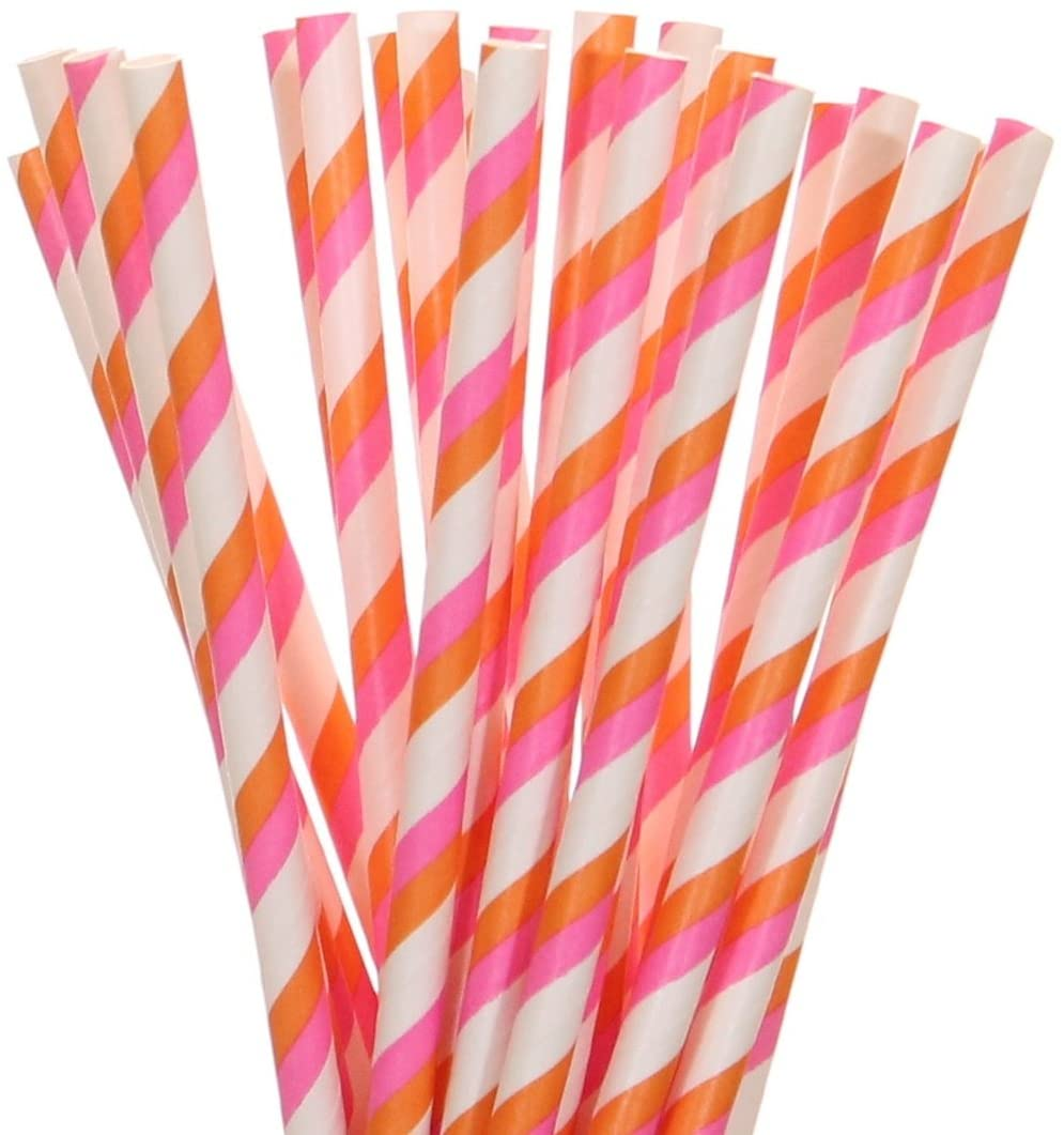 Biodegradable Paper Straws Hot Pink And Orange Striped (50)