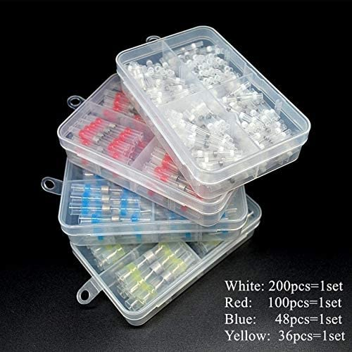 Davitu Terminals - Wire Connector Terminal Kit Solder Seal Connector Heat Shrink Butt Waterproof Butt Automotive Insulated Terminals Wire Joint - (Color: 4SETS Mixed)