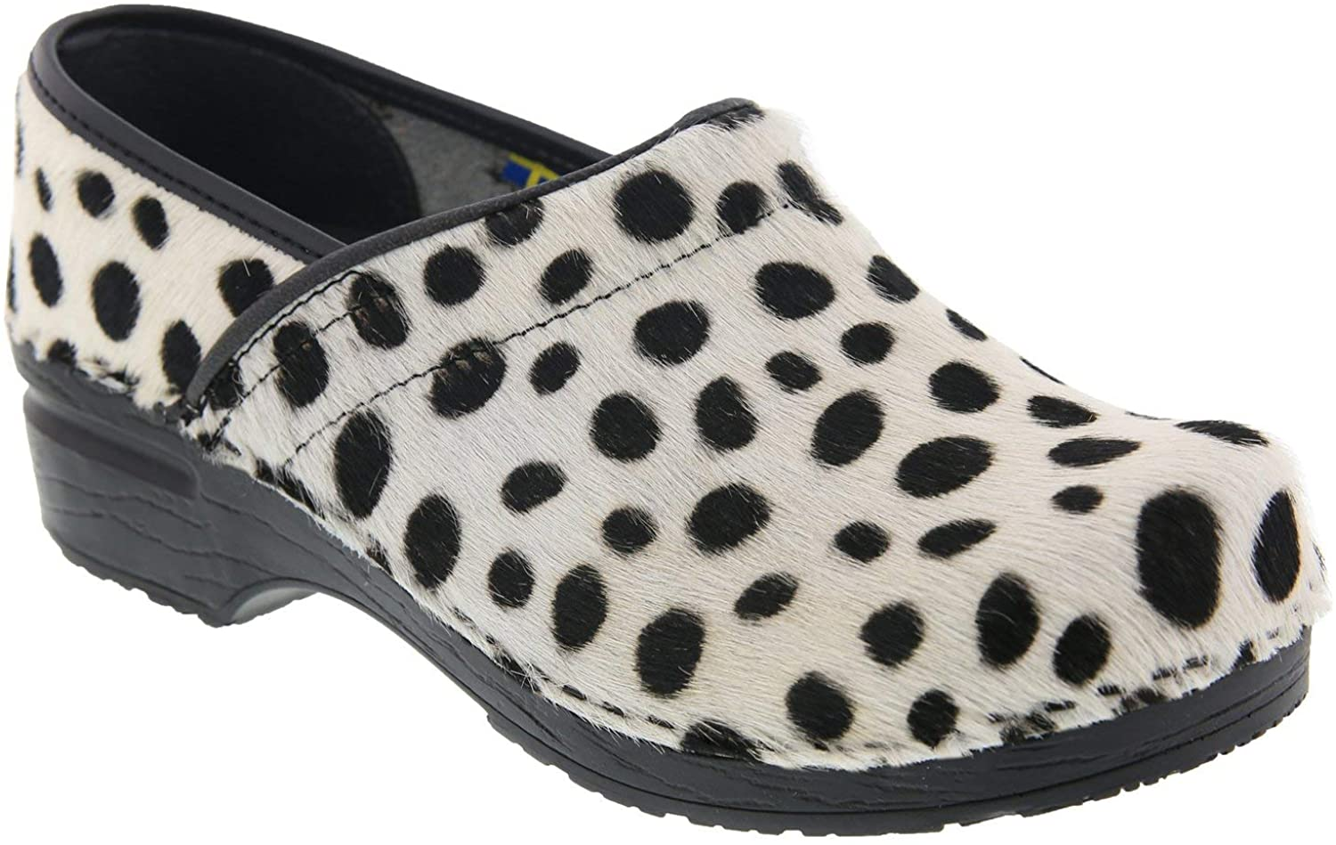 Bjork Professional Safari Leather and Fur Clogs in Ocelot Print