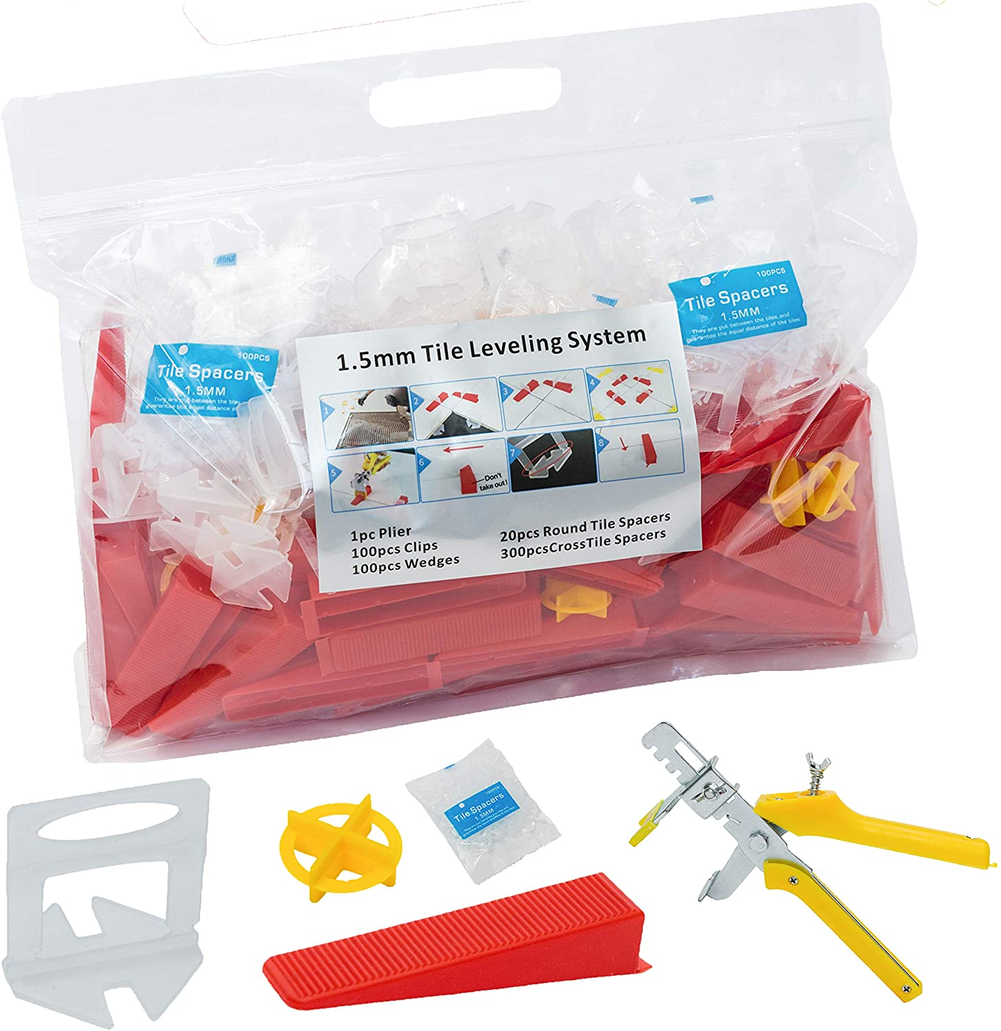 Tile Leveling System with Stronger 100 Tile Spacers Clips & 100 Reusable Wedges & 1 pc Floor Tiles Plier for Floor Leveling, DIY Tile Kits, Wall Tile Leveler Tools for Tile Installation(1/16 inch)